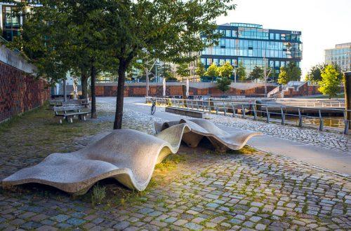Скамьи lungomare в Хафенсити, Гамбург
